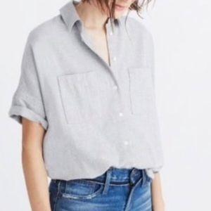 Madewell Gray 100% Cotton Button-Down Shirt